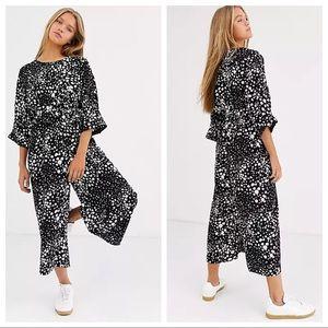 Asos Design Tie Waist Jumpsuit Black Animal Print